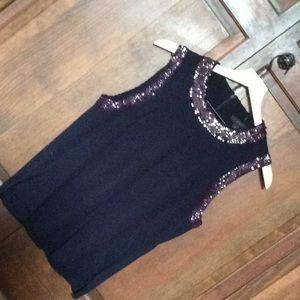 JCrew navy /dark purple sequin top.   Size small.